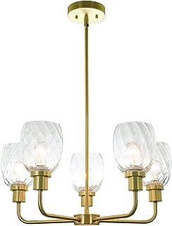 XiNBEi Lighting 5 Light Chandeliers, Pendant Chandelier Lights with Clear Glass, Satin Brass Finish XB-C1210-5-SB