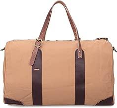 ALTOSY Travel Duffel Bag Canvas Bag Genuine Leather Weekend Bag Overnight (Y2095, Camel)