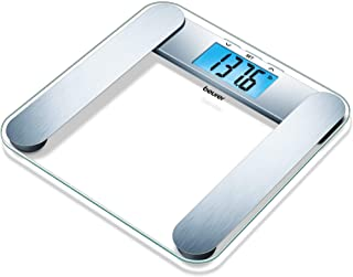Beurer Body Fat Analyzer Scale BMI, Multi-User & Recognition, Digital Weight Scale, XL LCD Illuminated Display, BF221, Silver
