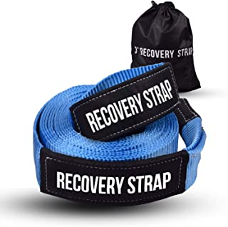 Recovery Tow Strap 3`` x 20 ft - Lab Tested 30,000lb Break Strength - Heavy Duty Draw String bag Included - Triple Reinforced Protective Loop - Ensure Peace of Mind - Emergency Off Road Towing Rope