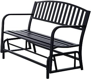 Koonlert@shop Outdoor Bench Glider Rocking Chair Garden Deck Furniture Backyard Loveseats/Black #705a