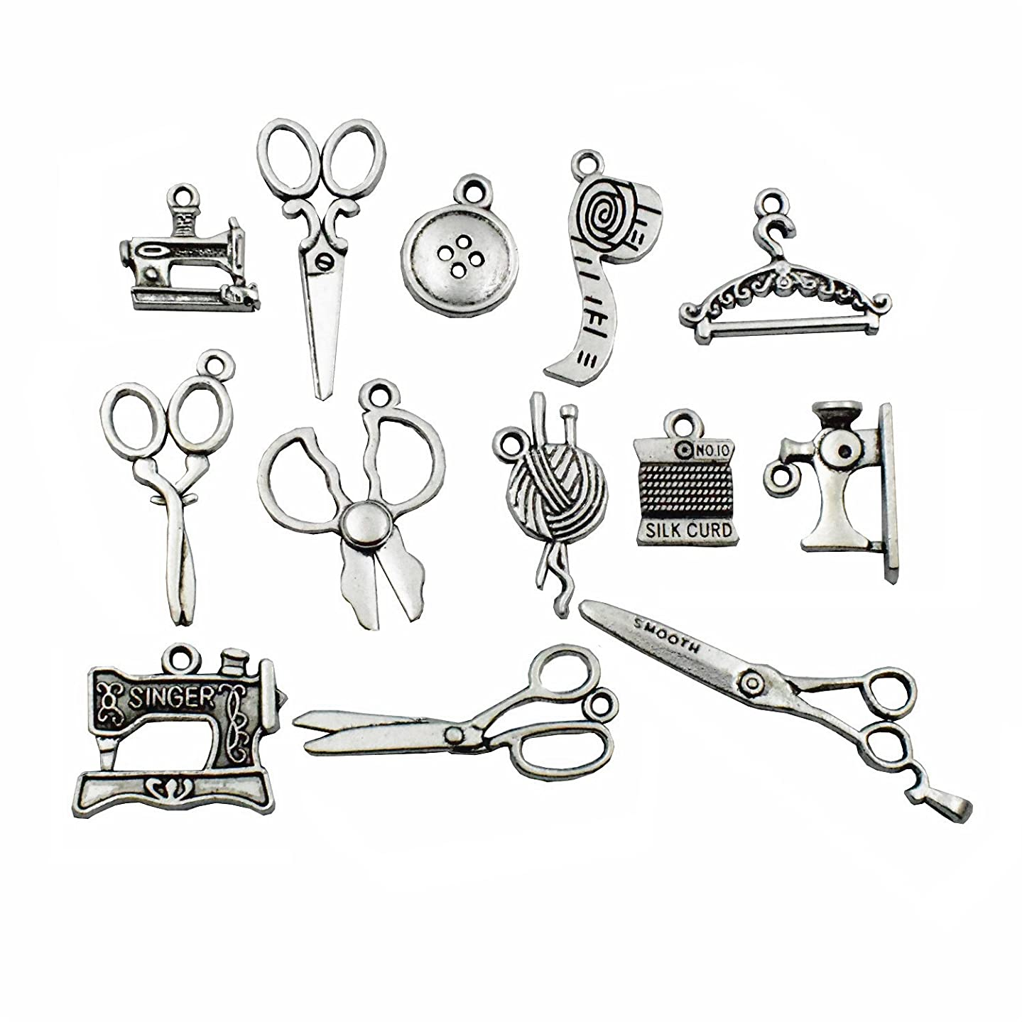 Sewing Charms Collection-100g about (60-65pcs ) Antique Silver Craft Supplies Sewing Charms Pendants for Crafting, Jewelry Findings Making Accessory For DIY Necklace Bracelet M3 (Sewing Collection)