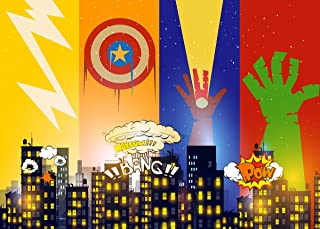 Superhero Cityscape Photography Backdrop and Party Masks for Children 6 Piece – Birthday Party and Event Decorations