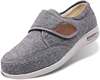 Women's Edema Shoes Wool Walking Sneakers Warm Plush Fleece Lining Adjustable Touch Close Strap Lightweight Air Cushion for Diabetic, Elderly, Swollen Feet, Plantar Fasciitis
