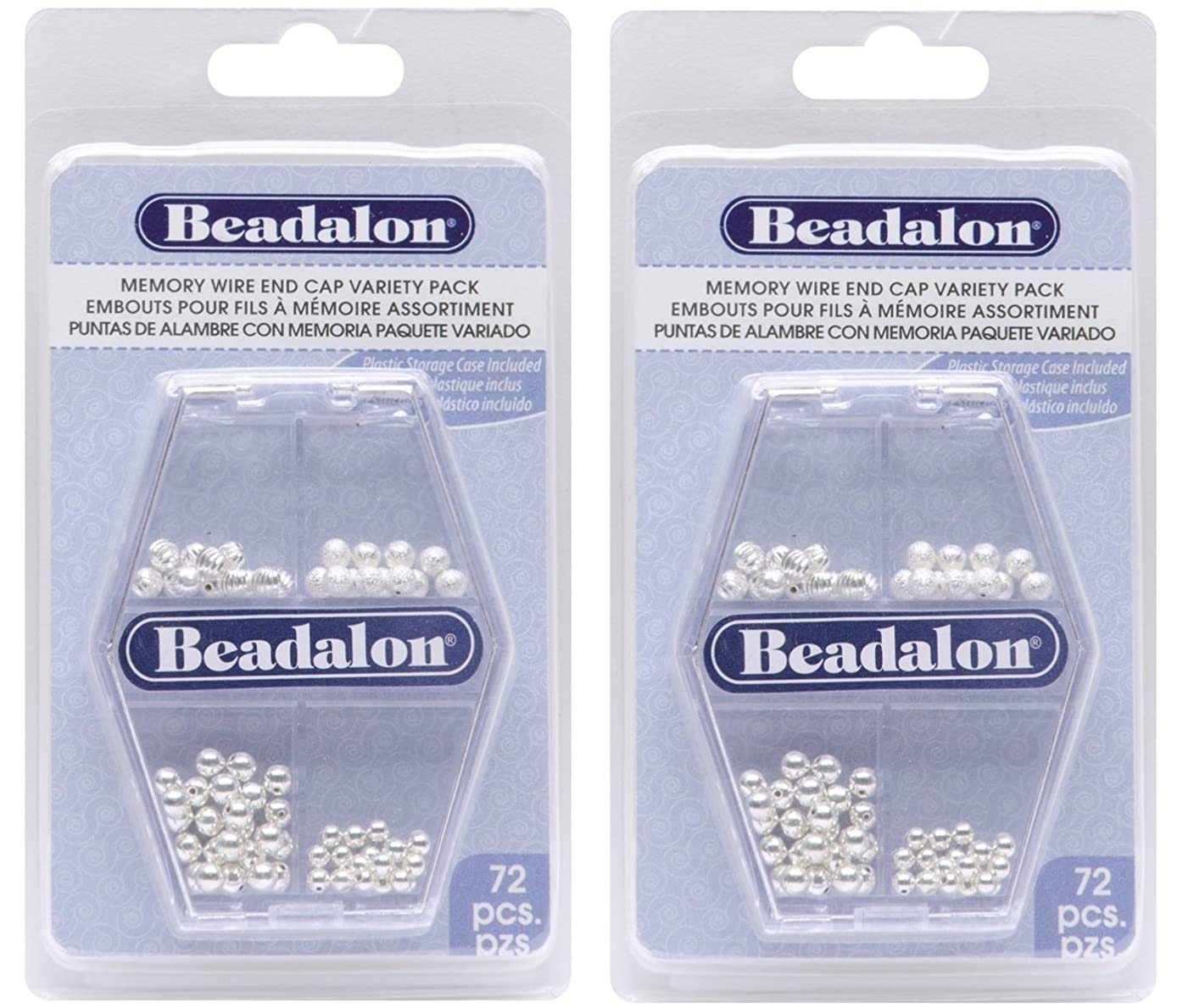 Beadalon Memory Wire End Cap, Variety Pack, 72-Piece (2 Pack)