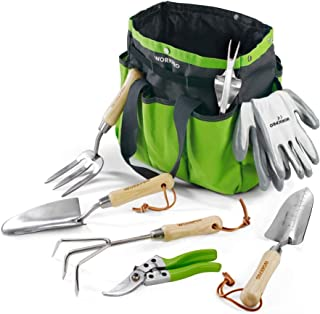 WORKPRO 8 Piece Garden Tools Set, Stainless Steel Hand Tools with Wooden Handle, Including Gloves, Trowel, Weeder, Hand fo...