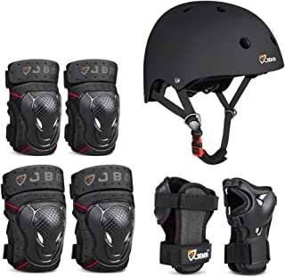 JBM 4 Sizes Extra Pads Diamond Curved Series Full Protective Gear Set Multi Sport Helmet, Knee and Elbow Pads with Wrist G...