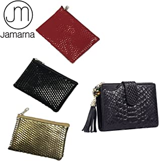 Jamarna JM Genuine Leather Alligator Short Women Wallet Tassels Female Purse Credit Card ID Holder Zipper Pocket Wallet (Black)