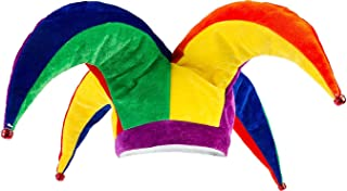 Suit Yourself Rainbow Jester Hat for Adults, One Size, Fabric 4-Prong Hat, Measures 23 Inches Diameter by 9 Inches Tall
