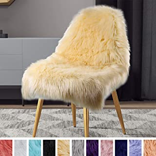 LOCHAS Silky Soft Faux Fur Sheepskin Area Rug, Fluffy Rugs for Bedroom, Kids, Nursery, Girls, Machine Washable, Thick Wool Floor Carpets Chair Couch Cover Seat Pad, 2x3 Feet Light Yellow