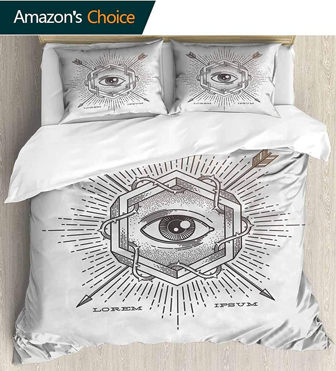 Occult Home 3 Piece Print Quilt Set,Third Eye in Geometric Hexagon with Grunge Effects and Arrows Inspirations Print with 2 Pillowcase for Kids Bedding 68