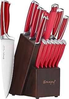 Emojoy Knife Set, 15-Piece Kitchen Knife Set with Block Wooden, Red Handle for Chef Knife Set, Kitchen Knives Sharpener an...