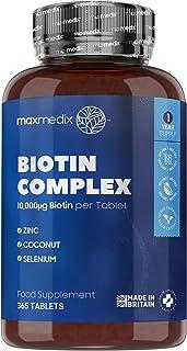 Biotin 10.000 mcg kosttillskott – 365 tabletter (räcker upp till 1 år) – Biotin hårtillväxt tillskott, främjar friska nagl...
