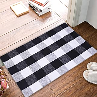 EARTHALL Cotton Buffalo Black and White Plaid Rugs, Hand-Woven Checkered Carpet, Washable Kitchen/Frontdoor/Living room/Laundry Room/Bathroom/Bedroom Mat(23.6