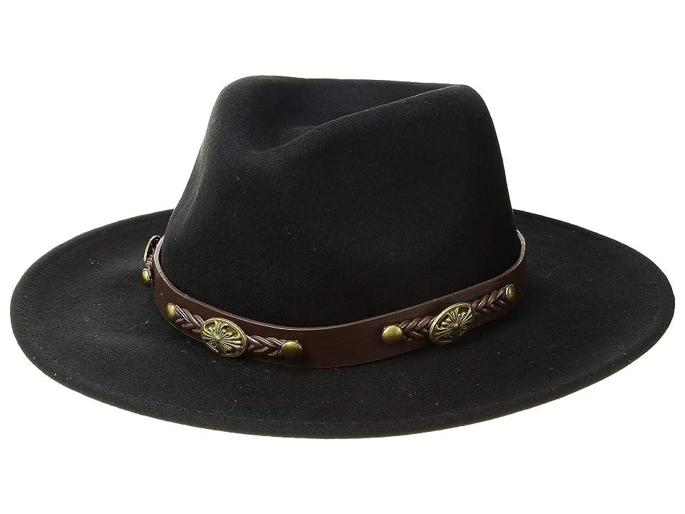 San Diego Hat Company WFH1201 Fedora w/ Faux Leather Western Band (Black) Fedora Hats