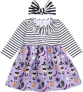 Halloween Kids Toddler Baby Girls Dresses Outfit Pumpkin Ghost Print Long Sleeve Ruffled Tutu Dresses Clothes Set
