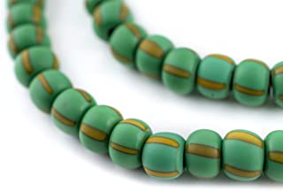 TheBeadChest Matte Green & Yellow Ghana Chevron Beads 8mm African Multicolor Round Glass Large Hole 28 Inch Strand Handmade