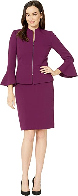 Skirt Suit with Collarless Jacket