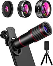 MACTREM Phone Camera Lens Phone Lens Kit 9 in 1, 20X Telephoto Lens, 205° Fisheye Lens,..