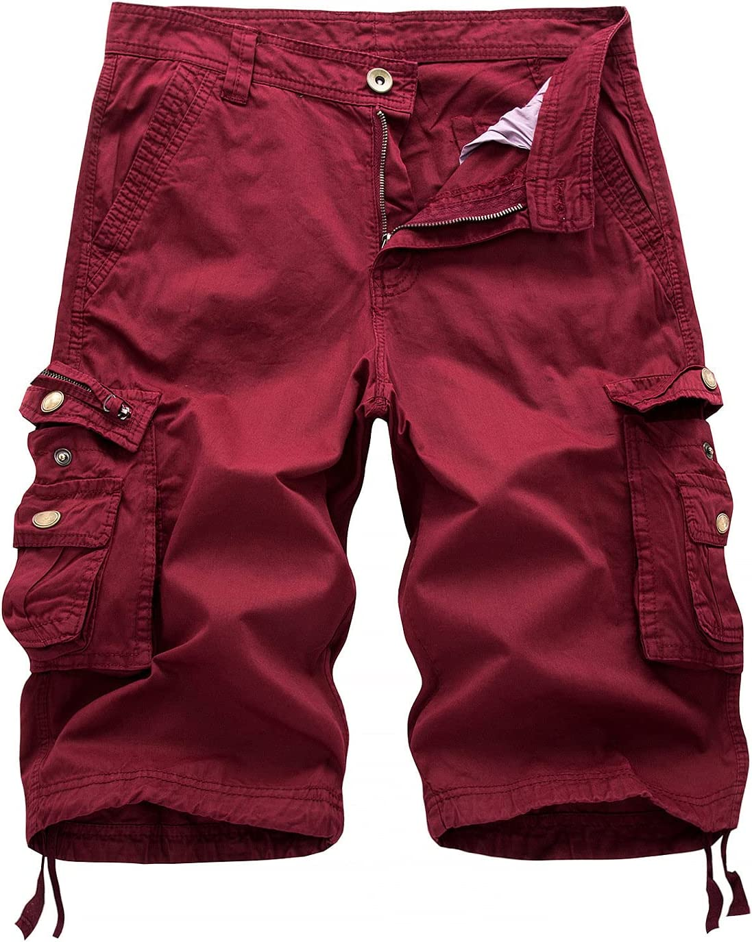 Outdoor Twill Cargo Shorts for Men Casual Summer Lightweight Outdoor Shorts Relaxed Fit Stretchy Multi-Pocket Shorts (Red,32)