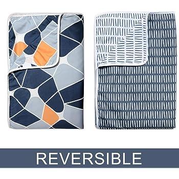 Divine Casa Polyester Reversible Single AC Blanket/Dohar (Grey and Blue) Set of 2