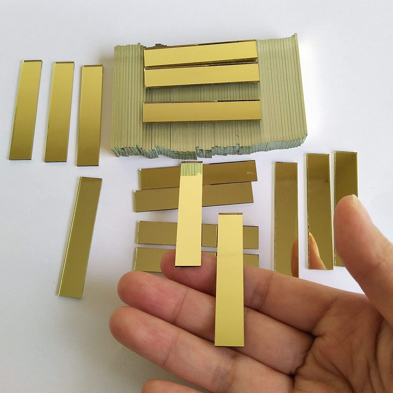 Peque/ños espejos rectangulares de cristal para manualidades espejo de cristal mosaico 100 unidades oro amarillo, 9,5 x 50,8 mm azulejos de mosaico rectangulares