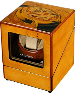 CHIYODA Single Wooden Watch Winder with Quiet Motor, Noise-isolating, Handmade Wooden Box with Acrylic Organic Glass Window