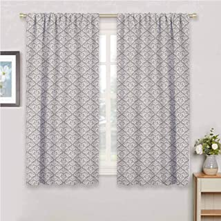Jinguizi Damask Doorway Curtain Arabesque Tile with Oriental Design Elements Ancient Revival Swirled Leaf Motif Bedroom Curtains Taupe White 96 x 72 inch