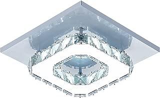 Lámpara de techo de cristal Lámparas de techo Espejo de acero inoxidable LED 12W moderna lámpara de cristal para sala de estar, dormitorio