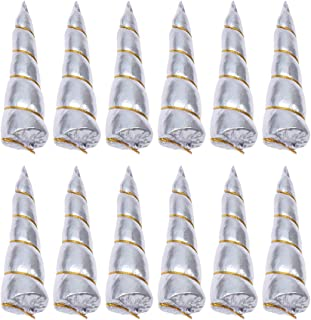 Lurrose 12pcs Unicorn Horns for DIY Unicorn Headband Craft Birthday Party Favors Supplies (Silver)