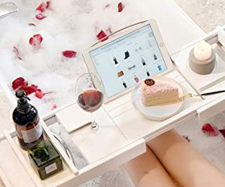 ALISSA Extendable Bamboo Bathtub Tray Caddy Wooden Bath Organizer Rack Bathroom Book Wine Tablet Holder Reading Shelf Bath...