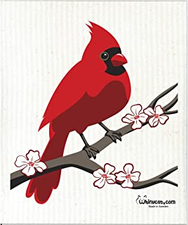 Swedish Treasures Wet-It! Male Red Cardinal Super Absorbent, Reusable, Biodegradable All-Purpose Cleaning Cloth Towel