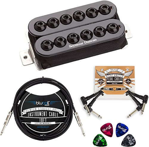high quality Seymour Duncan popular SH-8b Invader High Output Humbucker Pickup (Black Bridge) Bundle lowest with Blucoil 10-FT Straight Instrument Cable (1/4in), 2-Pack of Pedal Patch Cables, and 4-Pack of Celluloid Guitar Picks online sale