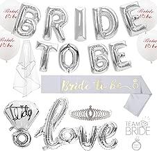 Silver Bride To Be Party Decorations Kit, 29 Pcs, Bachelorette Party Supplies - Sash - Tiara - Veil - Bride Tribe Flash Tattoos - BRIDE TO BE Balloon + Diamond Balloon + Love Balloon + Printed balloon