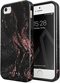 BURGA Phone Case Compatible with iPhone 5 / 5s / SE Case Copper Wood Rose Gold Marble Cute for Woman Heavy Duty Shockproof Dual Layer Hard Shell + Silicone Protective Cover