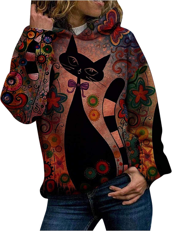 Women's Hoodie Shirts Cute Black Cat Floral Print Long Sleeve Hooded Sweatshirt Loose Casual 3D Graphic Pullover Top