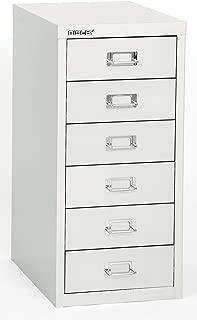 Bisley 6 Drawer Steel Under-Desk Multidrawer Storage Cabinet, White (MD6-WH)