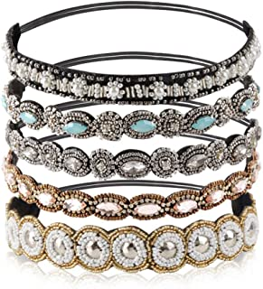 "Teenitor Rhinestone Beaded Elastic Headband, Fashionable Handmade Crystal Beaded Elastic hairbands Lady Women Girls Hair Jewelry Accessories, 20-26.8"" Fits for Most, 5 Pieces"