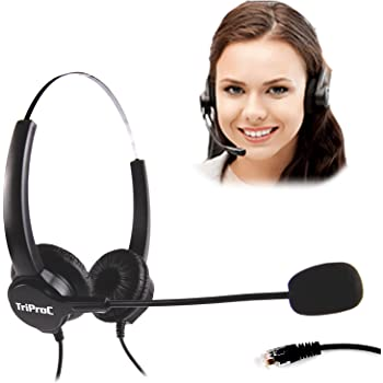 TRIPRO 4 Pin RJ9 Telephone Headset for Landline Desk Phones (H800D)