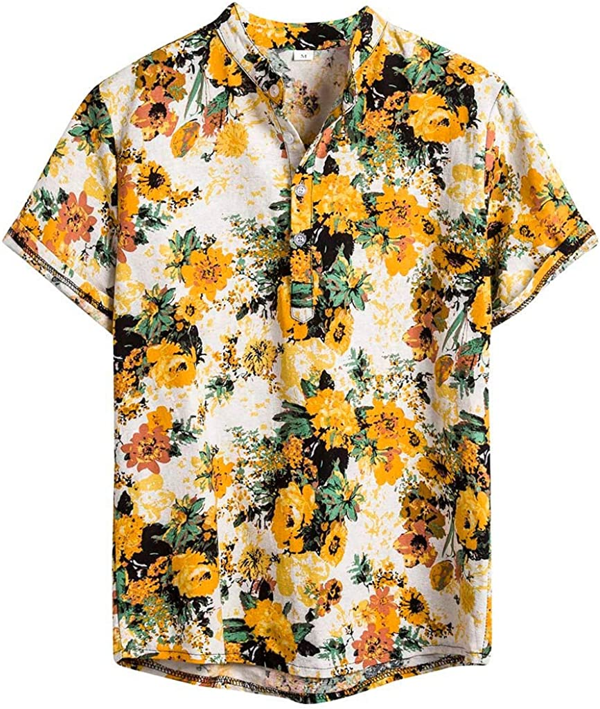 Men's Henley Shirts Sales of SALE items from new Today's only works Hawaiian Ethnic Sleeve Short Casual Printing