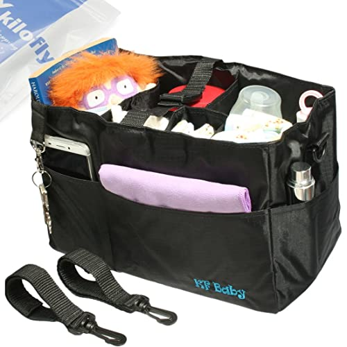 1f9c08c1dbd2 kilofly 2-in-1 Baby Diaper Bag Insert Stroller Organizer + 2 Attachable  Straps