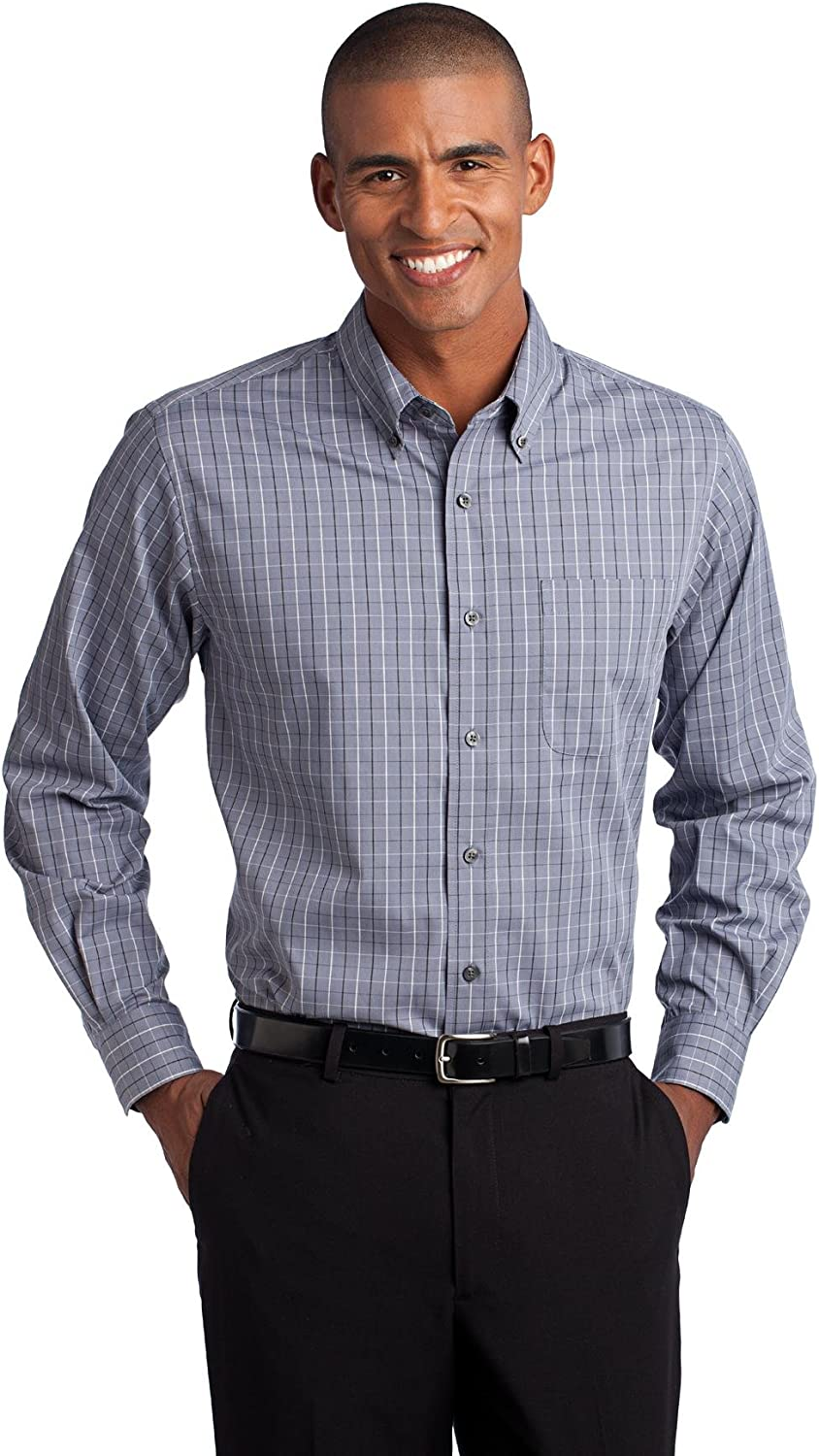 Port Authority Mens Tall Tattersall Easy Care Shirt (TLS642) -Grey/White -3XLT