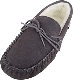 SNUGRUGS Men's Soft Sole Suede Sheepskin Moccasin Slippers