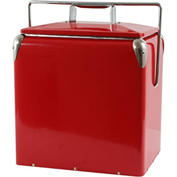 Green Foster /& Rye 7070 Vintage Metal Portable Beverage Cooler and Ice Chest Set of 1