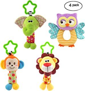 MKONY Baby Crib Hanging Toys, Infant Stroller Car Seat Bed Toys,Newborn Activity Development Toy, Babies Unique Travel Hanging Rattle Plush Toys (4 Pack)
