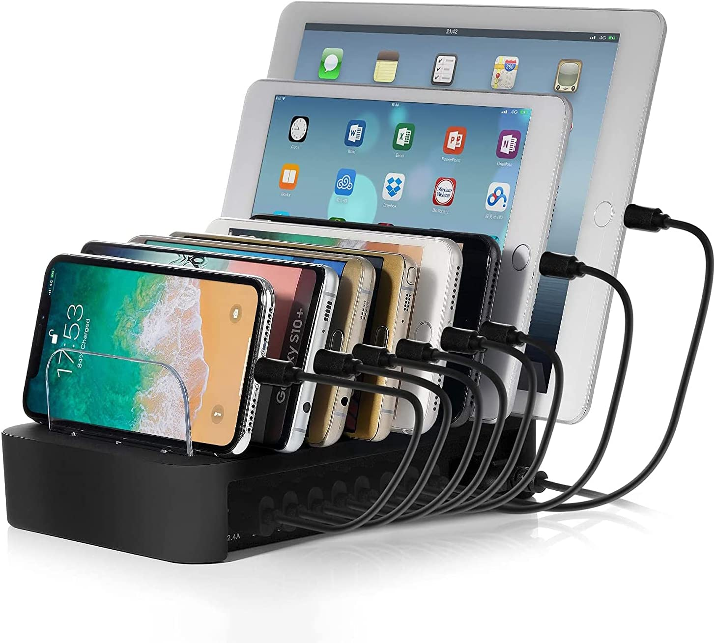 "NEXGADGET USB Charging Station Dock for Multiple Devices, 8-Port Desktop Charger,Charging Stand Organizer for Smart Phone,Tablet and Other USB Devices-8"" Cables Included"