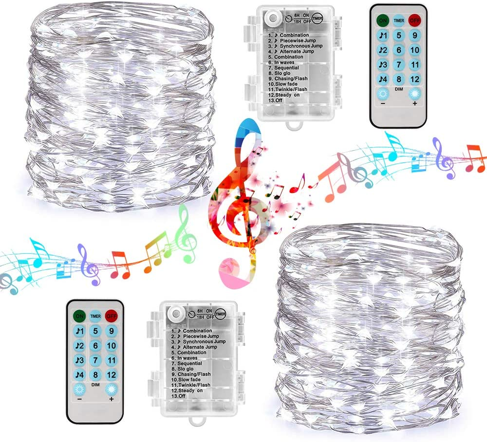 Battery String Lights 2 Packs 33ft 100 LED Sound Activated Fairy Lights, with Remote, Timer, Waterproof Battery Lights for Tree, Party, Home, Holiday Decorations (White)