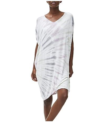 Michael Stars Kita Tie-Dye Firework Wash Cocoon Midi Dress in Luxe Jersey (Faded Black) Women