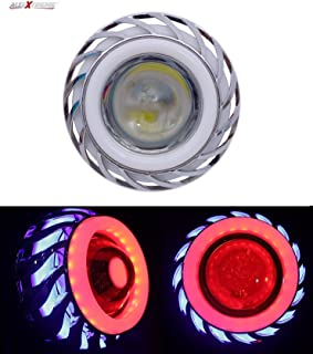 AllExtreme EXCPLBR High Intensity Led Projector Lamp Stylish Dual Ring COB LED Headlight with Hi/Low Beam and Flasher Function for All Bikes (15W, Red and Blue)