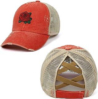 Boné de beisebol – Bordado de flor rosa – Boné ajustável para uso ao ar livre para homens e mulheres